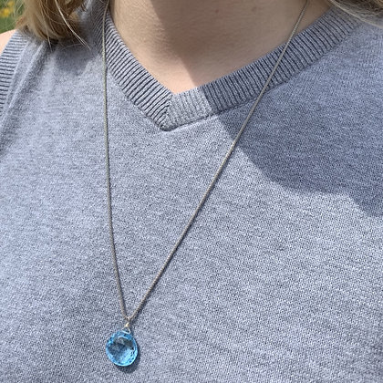 blue topaz on sterling silver slide chain, up to 23 inches.