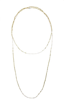 Golden Seed Pearl and Rutilated Quartz Long Neckla