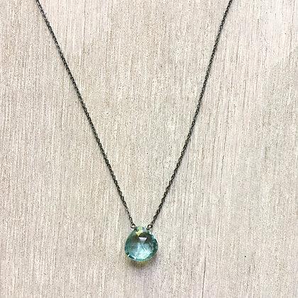 light blue quartz on black chain necklace