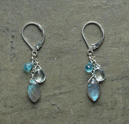 E012 Labradorite, Aquamarine and Apatite Earrings