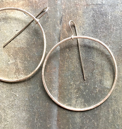 silver large circle earrings