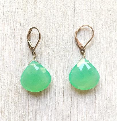 chrysoprase large drop earrings silver