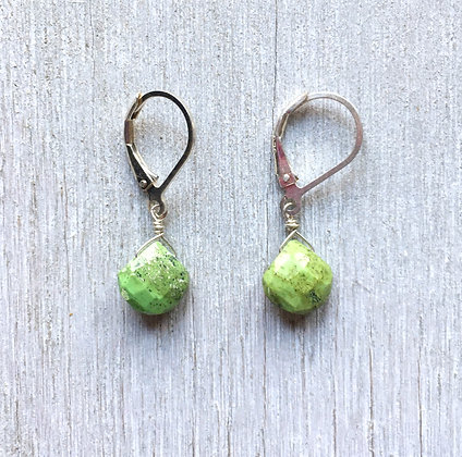 green gaspeite silver earrings