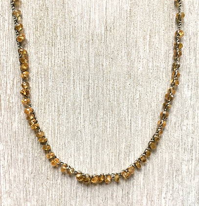 golden tourmaline crochet necklace