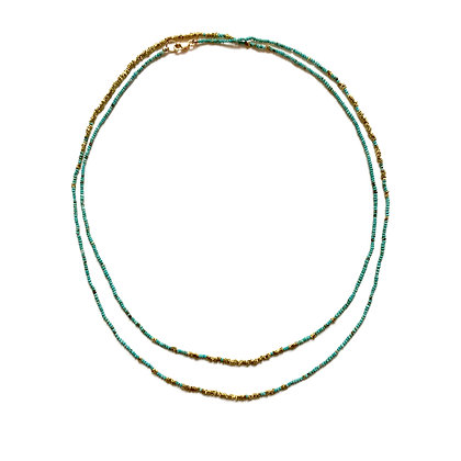 Sun Meets Ocean Turquoise Brass Fade Necklace