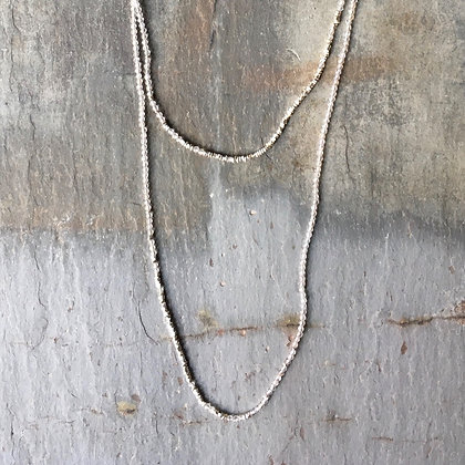 crystal quartz glimmer long necklace