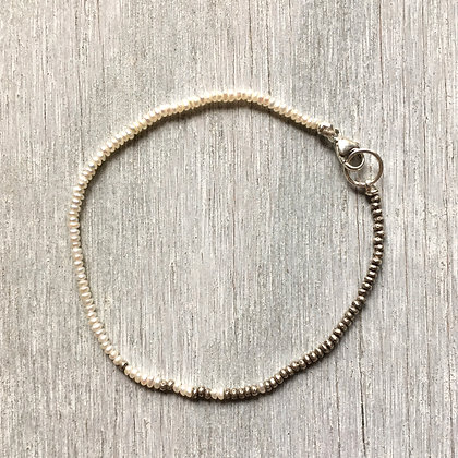 white pearl and silver fade bracelet