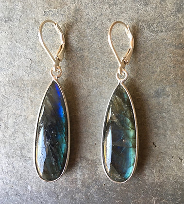 blue glow long drop earrings