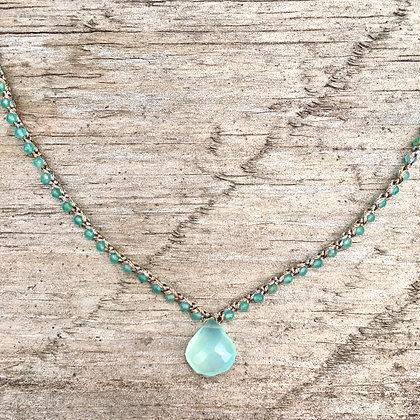 Chalcedony Pendant on crochet necklace