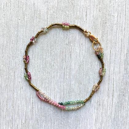 double rainbow tourmaline with brass bracelet