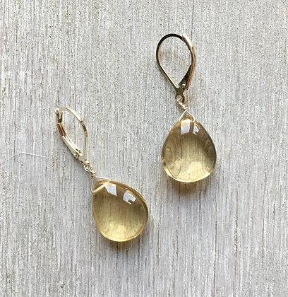 smooth whiskey quartz earrings