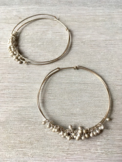 silver drops large hoops