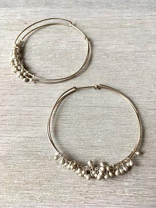 silver ball large hoop earrings