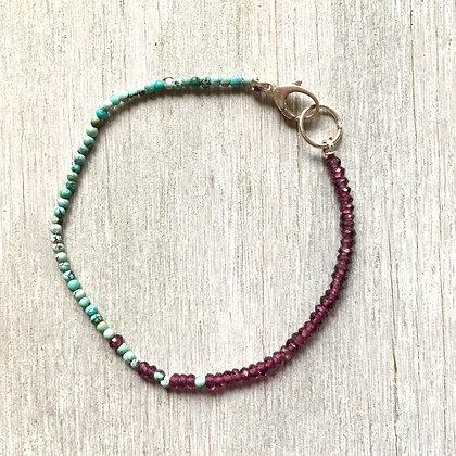 garnet and turquoise fade bracelet