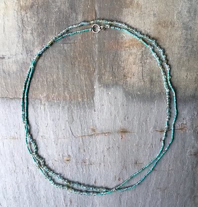 turquoise and apatite long necklace