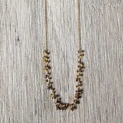 chocolate and champaigne diamond 14k gold necklace
