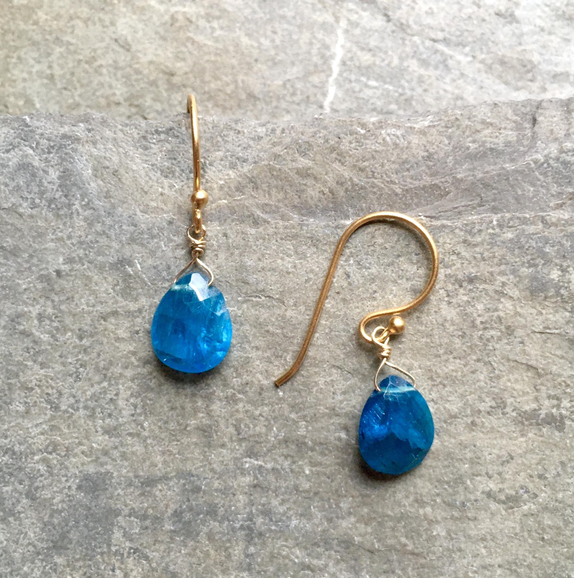 teal apatite earrings