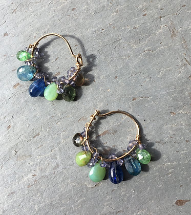 greens and blues small hoops