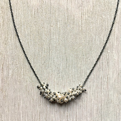 white and black cluster necklace