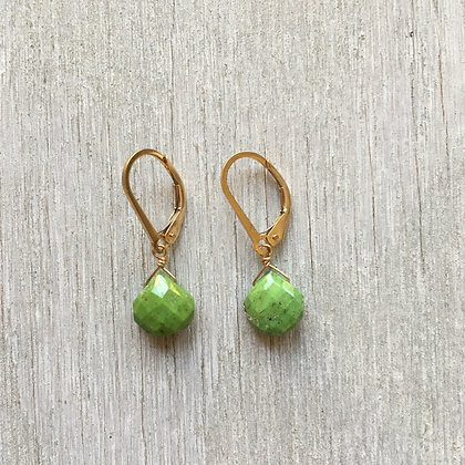 gaspeite and gold earrings