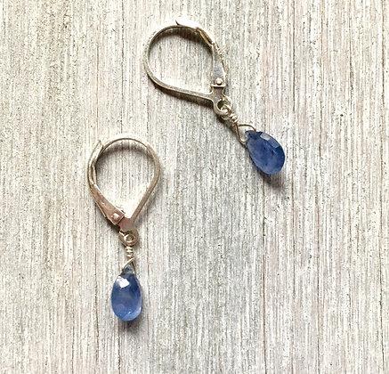 blue sapphire silver earrings