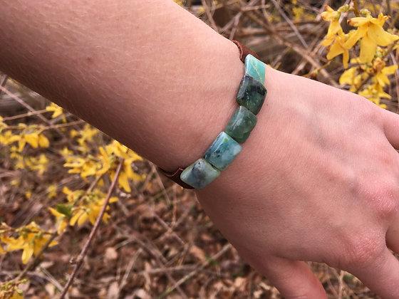 Peruvian opal leather bracelet