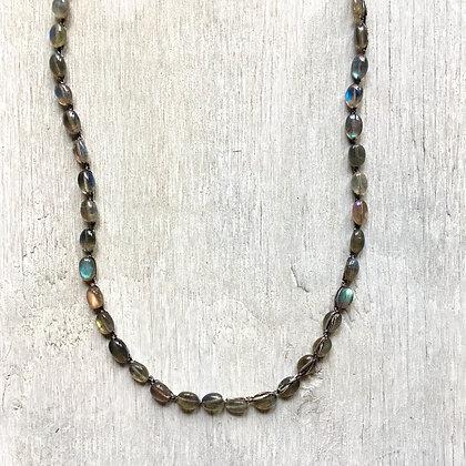 smooth labradorite oval crochet long necklace