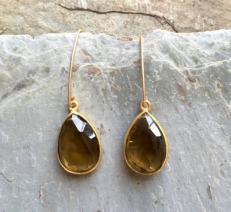 whiskey and gold long earrings