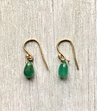 emerald smooth drop, 14k gold earrings