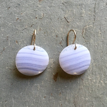 blue lace agate disc earrings