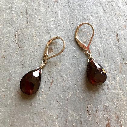 wine drops garnet earrings large