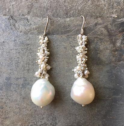 baroque pearl cascade earrings