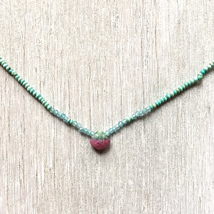 tiny rose in the turquoise necklace