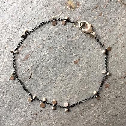 brushed silver oxidized chain bracelet