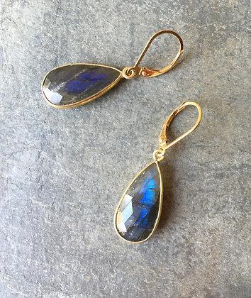 labradorite and gold long teardrop earrings
