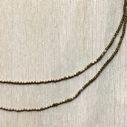 olive chrysoberyl and silver fade long necklace