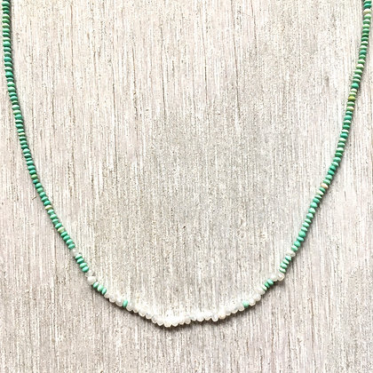 white sapphire and green turquoise necklace