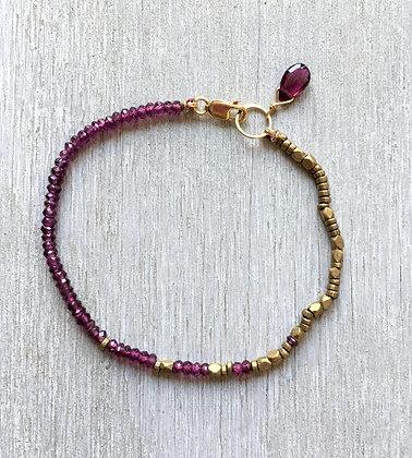 garnet and brass fade bracelet
