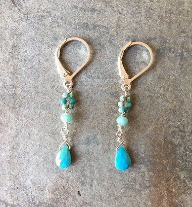 tiny turquoise and sapphire dangle earrings