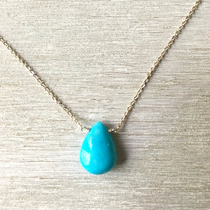 smooth American turquoise drop on silver