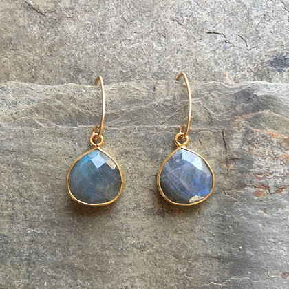 labradorite glow on gold dangle earrings