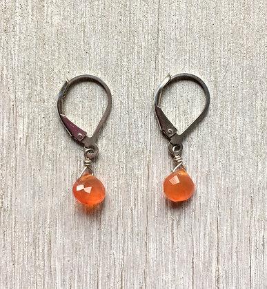 tiny orange drops silver earrings