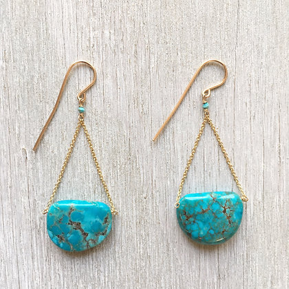 turquoise and sun triangle earrings