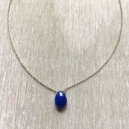 lapis on silver 16 inch necklace