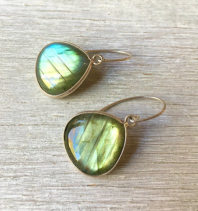 large labradorite set in silver earrings