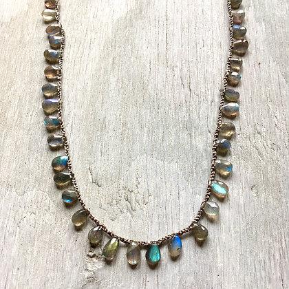 glowing labradorite smooth drop crochet necklace