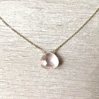 "glowing rose quartz pendant 18"" necklace"