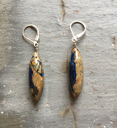 azurite malachite long pod earrings
