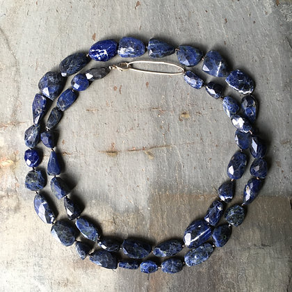 sodalite nugget long necklace