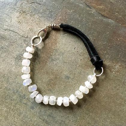 moonstone row leather bracelet